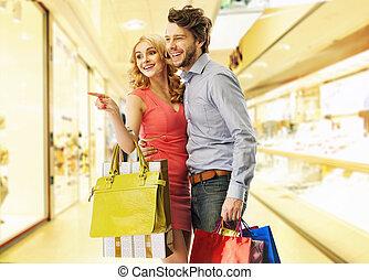 giovani persone, su, il, shopping