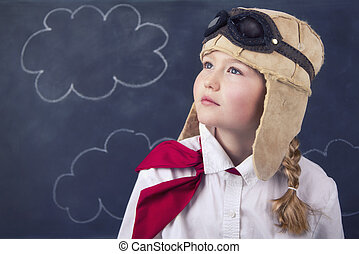 giovani ragazze, con, aviatore, occhiali protezione, e,...
