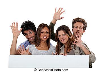 gioventù, dietro, bianco, pannello