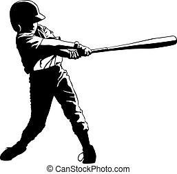 gioventù, lega, baseball, hitter