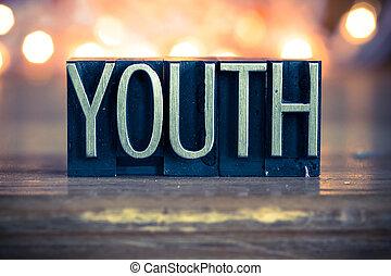 gioventù, metallo, concetto, tipo, letterpress
