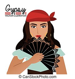 Gipsy design, vector illustration. - Gipsy design over white...