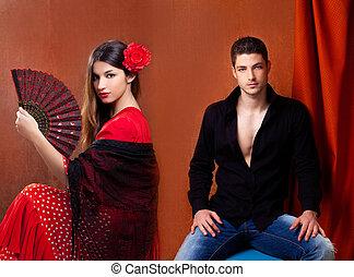 Gipsy flamenco dancer couple from Spain