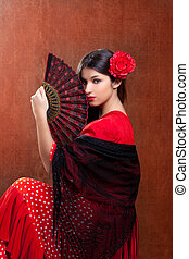 Gipsy flamenco dancer Spain girl with red rose