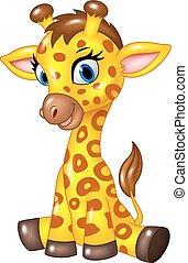 girafa bebê, adorável, sentando