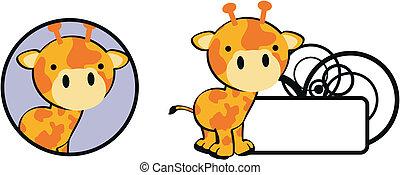girafa bebê, copysapce, caricatura