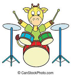 girafa, caricatura, tambores, tocando