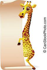 girafa, com, em branco, scroll, papel