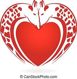 girafas, apaixonadas, coração, tatuagem, logotipo