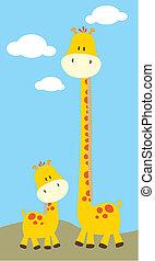 girafe bébé, et, maman