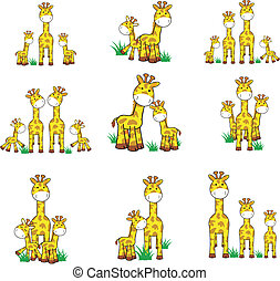 girafe, dessin animé, ensemble, 01