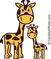 girafe, dessin animé, famille