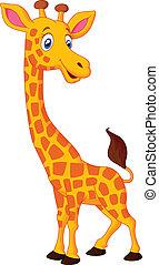 girafe, dessin animé, heureux
