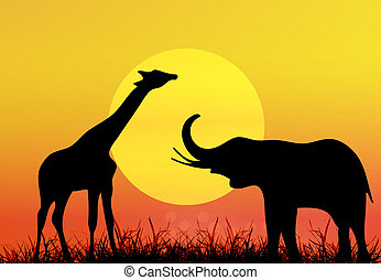 girafe, et, elephant., afrique