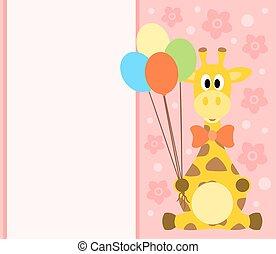 girafe, fond, carte