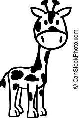 girafe, noir, dessin animé