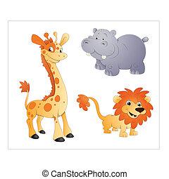 girafe, rhinocéros, vectors, lion