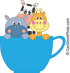 girafe, vache, hippopotame, tasse
