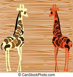 girafe, vecteur, conception, deux, illustration.