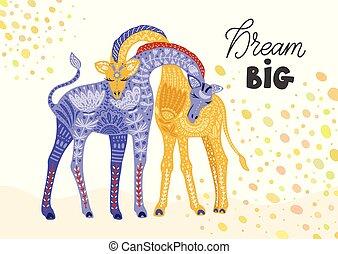 girafe, vecteur, dessin animé, illustration.