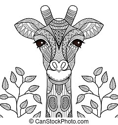 Giraffe line art design for coloring book for adult, tattoo, t shirt design and so on