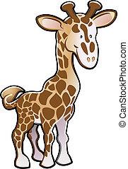 giraff, illustration, söt