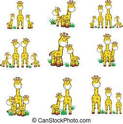 giraff, tecknad film, sätta, 01