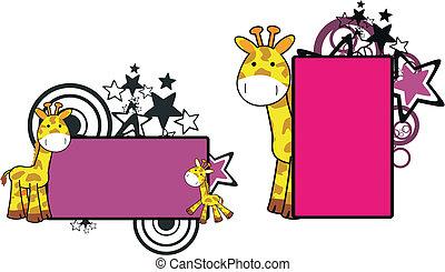 giraffa, cartone animato, copyspace, 13