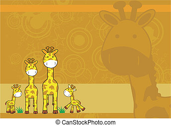 giraffa, cartone animato, fondo, 04