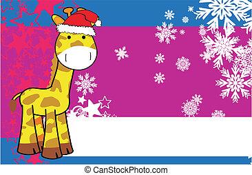 Copyspace5 giraffa natale vettore giraffa natale - Cartone animato giraffe immagini ...