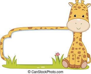 giraffa, safari, etichetta