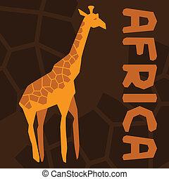 giraffe., étnico, fundo, ilustração, africano