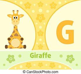 giraffe, alfabet, engelse