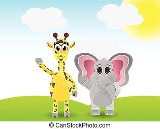 giraffe and elephant on the field
