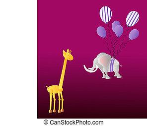 Giraffe and elephant with balloons - Yellow giraffe and big...