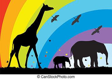 giraffe and elephants in africa