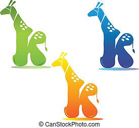 Giraffe and letter k