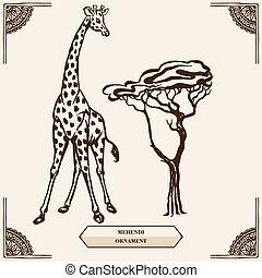 giraffe and mehendi ornament