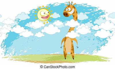 Giraffe and sun - Video of the giraffe and the sun