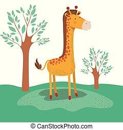 giraffe animal caricature in forest landscape background