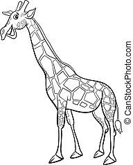 giraffe animal character cartoon coloring book
