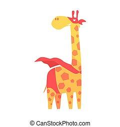 Giraffe Animal Dressed As Superhero With A Cape Comic Masked Vigilante Geometric Character