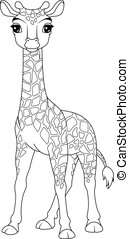 Giraffe Baby Coloring Page