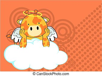 giraffe baby cute angel cartoon