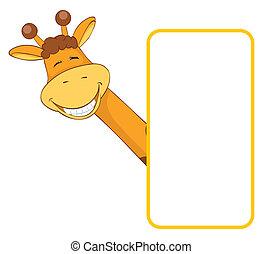 giraffe., bambino, bandiera, animale
