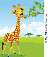 giraffe, blad, eten