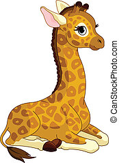 Giraffe Calf - Illustration of little cute giraffe Calf