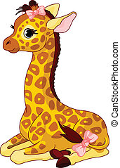 Giraffe Calf with bow - Illustration of little cute giraffe ...