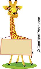 Giraffe cartoon and blank sign