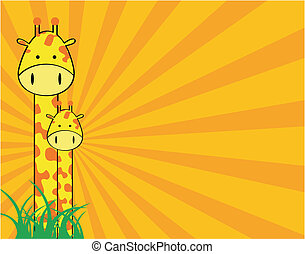 giraffe cartoon background in vector format